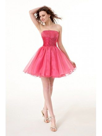 Short Strapless Neck Beaded Waist Tulle Puffy Prom Dress