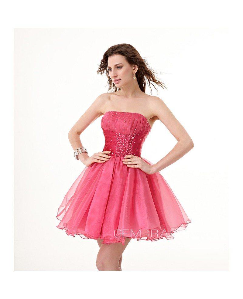 Short Strapless Neck Beaded Waist Tulle Puffy Prom Dress #YH0025 $100 - GemGrace.com