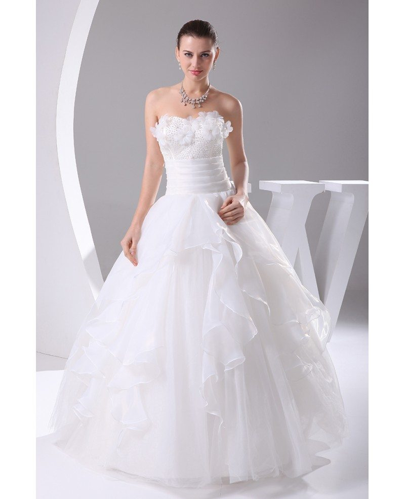 Organza Ballgown White Wedding Dress with Handmade Flowers #OPH1037 ...
