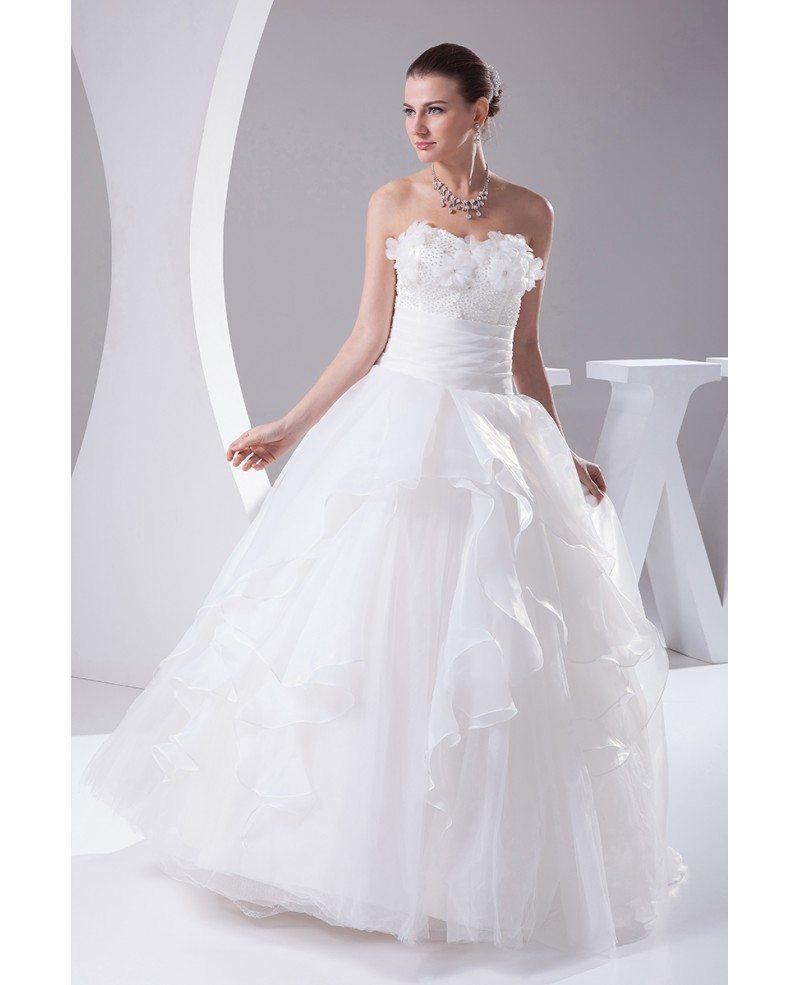 White Wedding Dress With Black Flowers: Organza Ballgown White Wedding Dress With Handmade Flowers