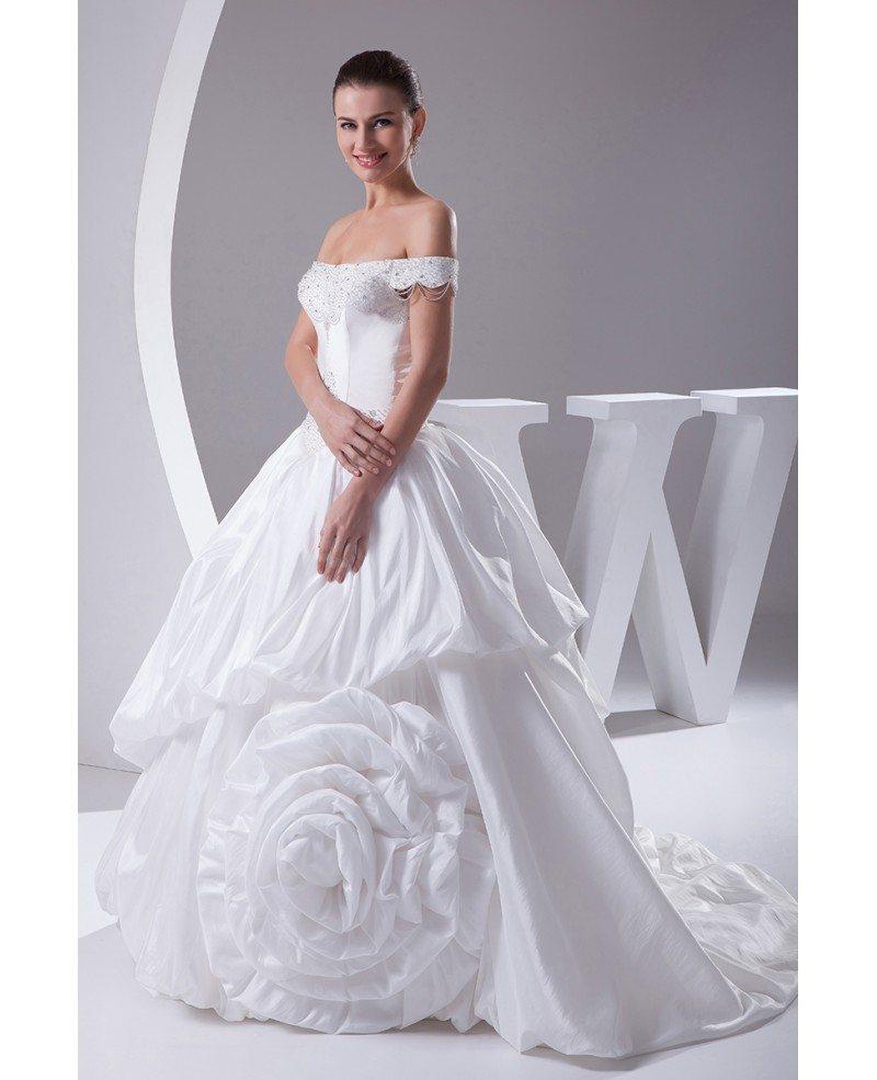 Off the shoulder romantic beaded taffeta floral wedding for Off the shoulder taffeta wedding dress