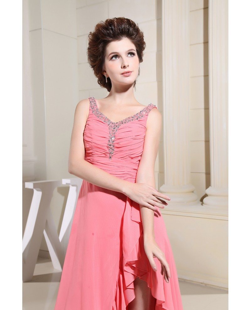 A-line Scoop Neck Floor-length Chiffon Prom Dress With