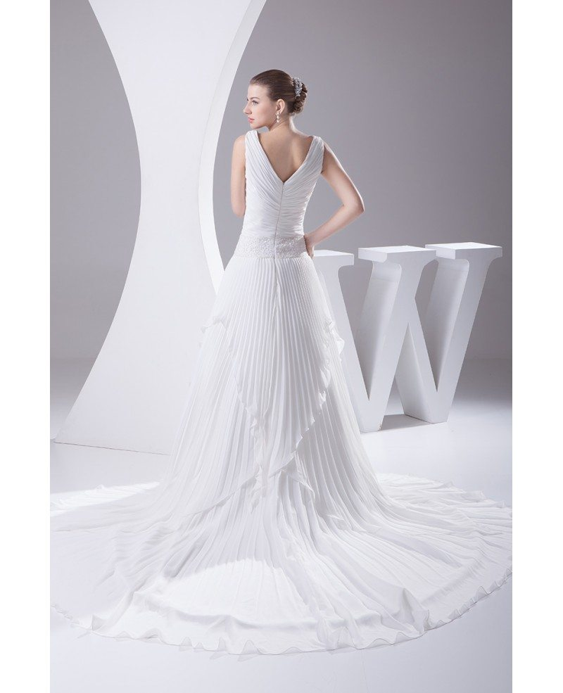 Pleated Chiffon V-neck Wedding Dress Long Train #OPH1042 ...