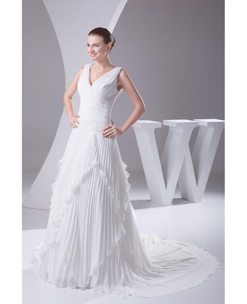 Wedding Gown Chiffon: Pleated Chiffon V-neck Wedding Dress Long Train #OPH1042