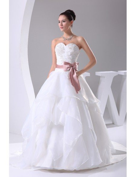 Sweetheart Ballgown Ruffled Wedding Dress White with Pink Sash ...