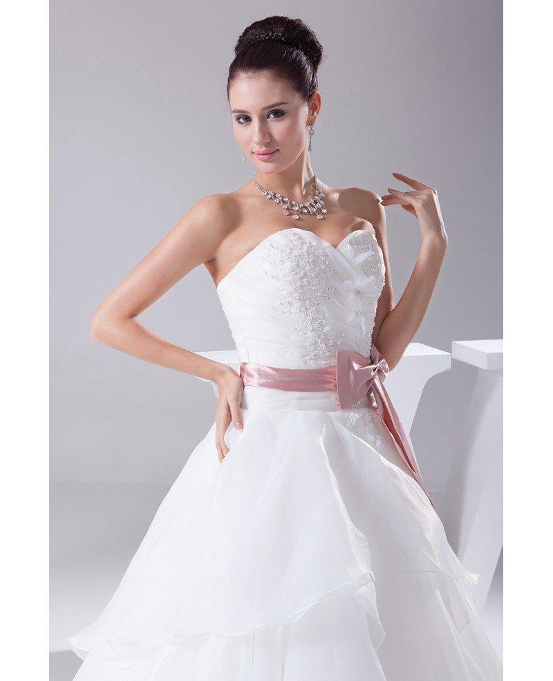 Bridesmaid White dresses with pink sash