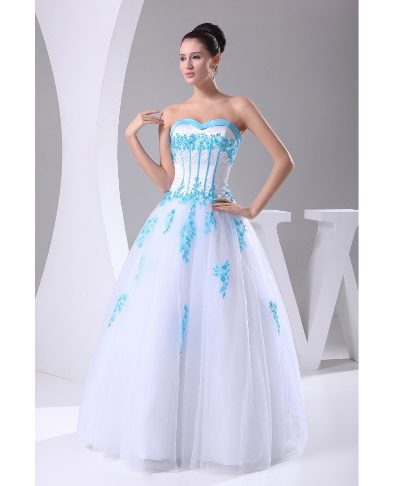 wedding dresses with blue blue and white lace sweetheart wedding dress ballgown with 9432