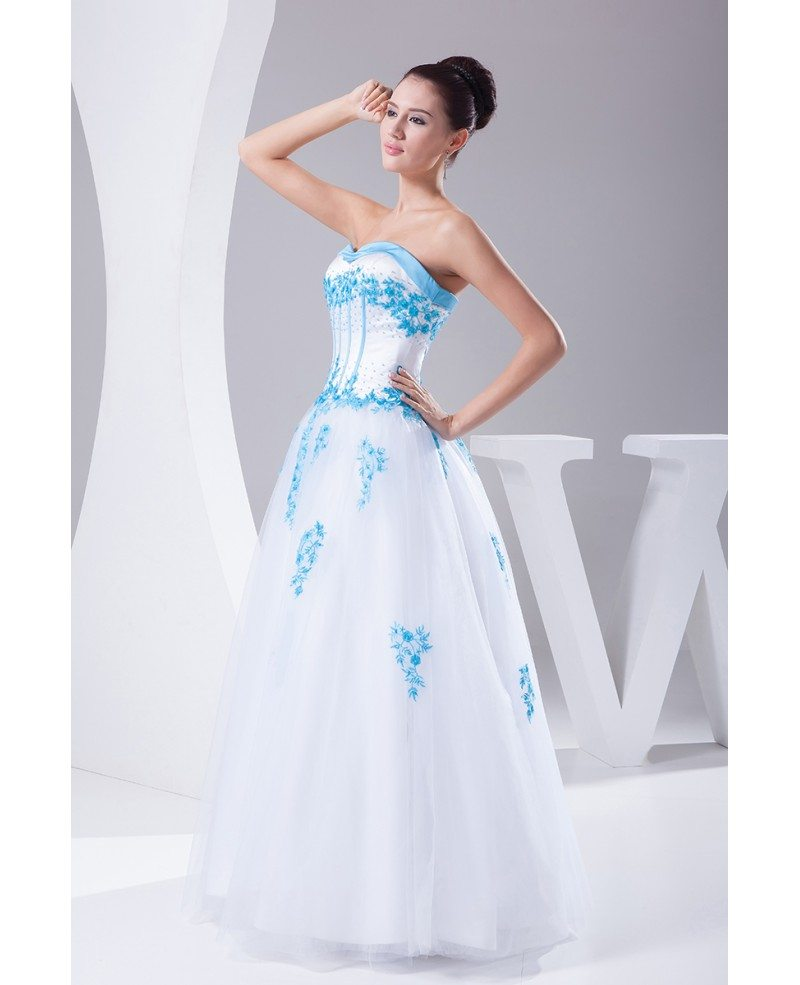 Blue And White Wedding Gowns: Blue And White Lace Sweetheart Wedding Dress Ballgown With