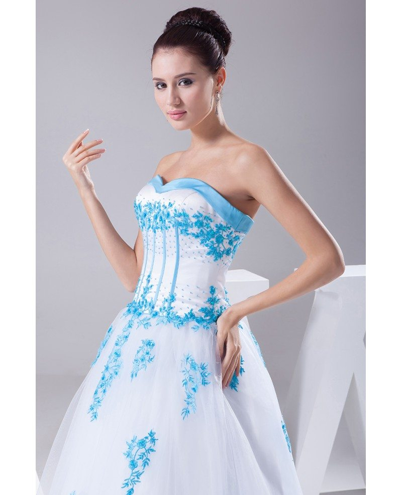 Blue And White Lace Sweetheart Wedding Dress Ballgown With