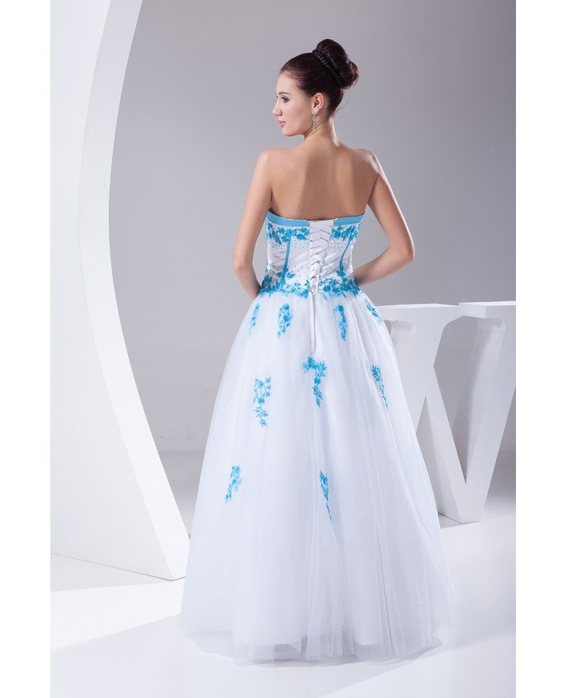 Blue and white lace sweetheart wedding dress ballgown with for Blue lace wedding dress