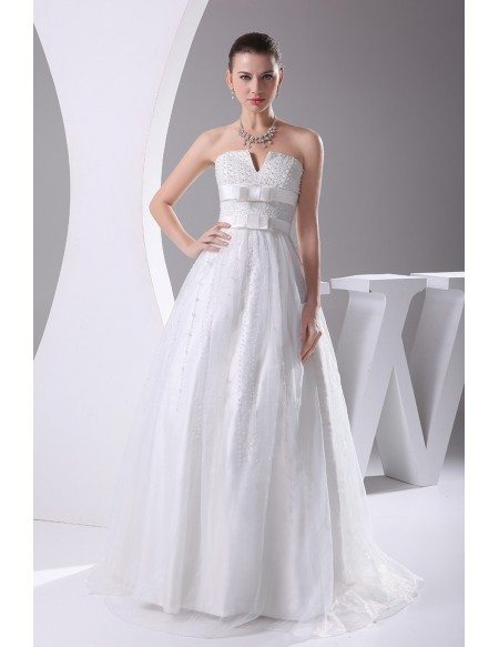 Beaded pearls cute empire waist ballgown maternity wedding for Cute maternity dress for wedding