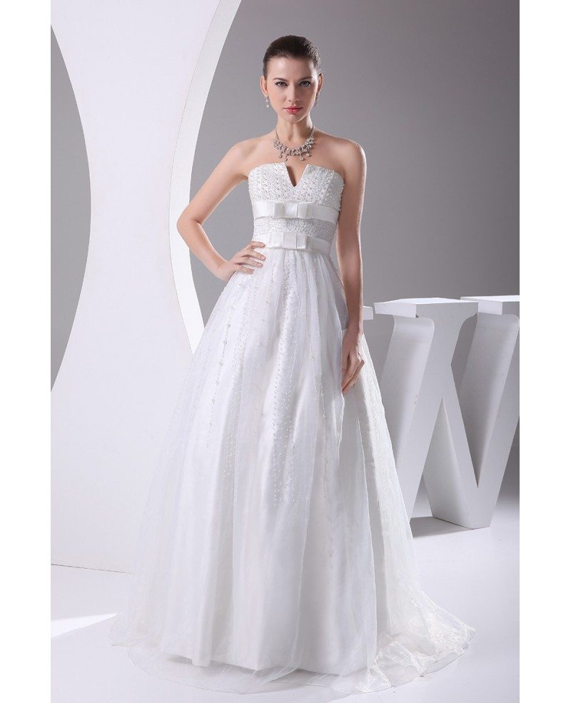 Beaded Pearls Cute Empire Waist Ballgown Maternity Wedding Dress ...