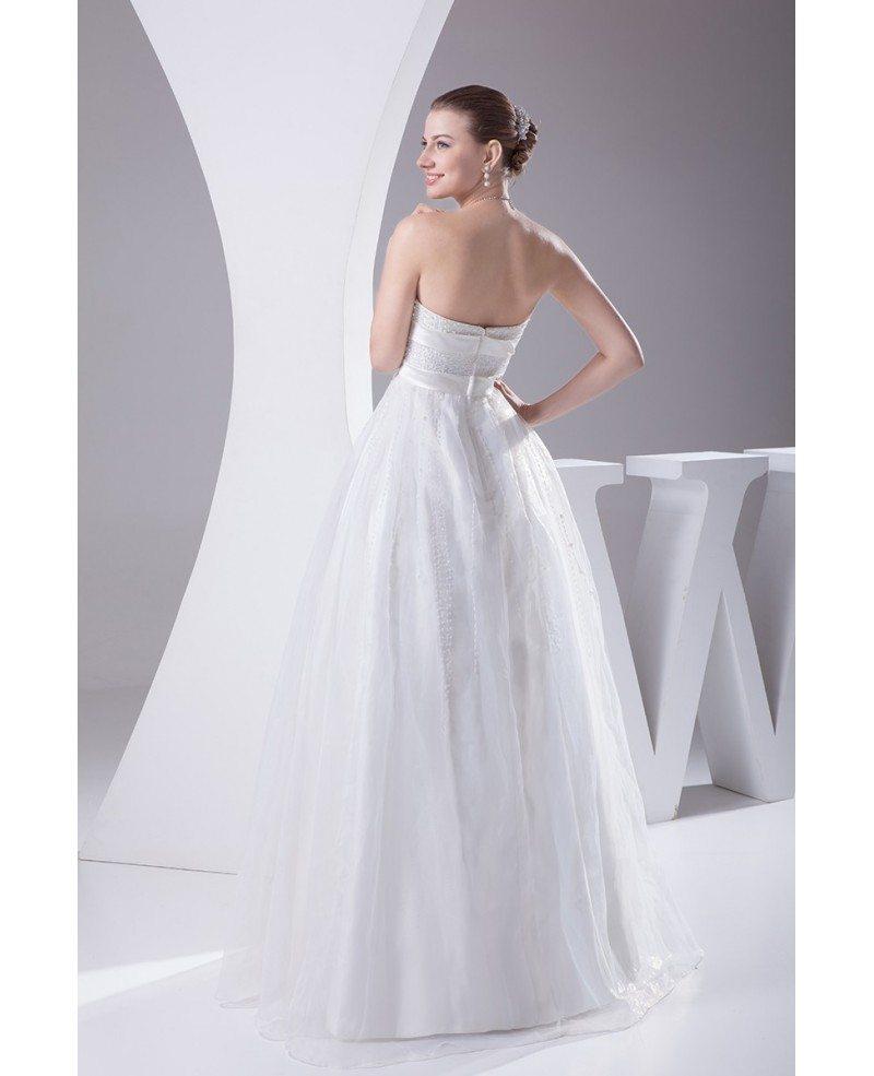Beaded Pearls Cute Empire Waist Ballgown Maternity Wedding