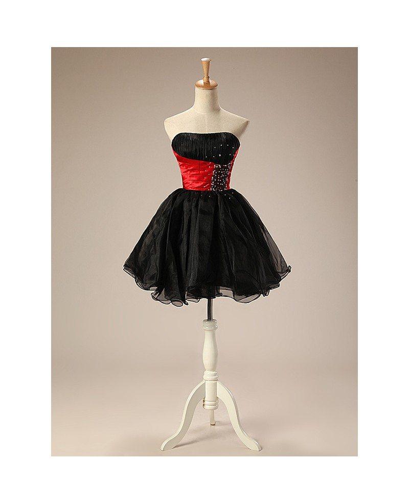 short strapless neck beaded waist tulle puffy prom dress 9