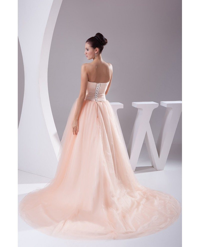 Pink Tulle Wedding Gown: Pink Sweetheart Beaded Train Length Tulle Ballgown Wedding