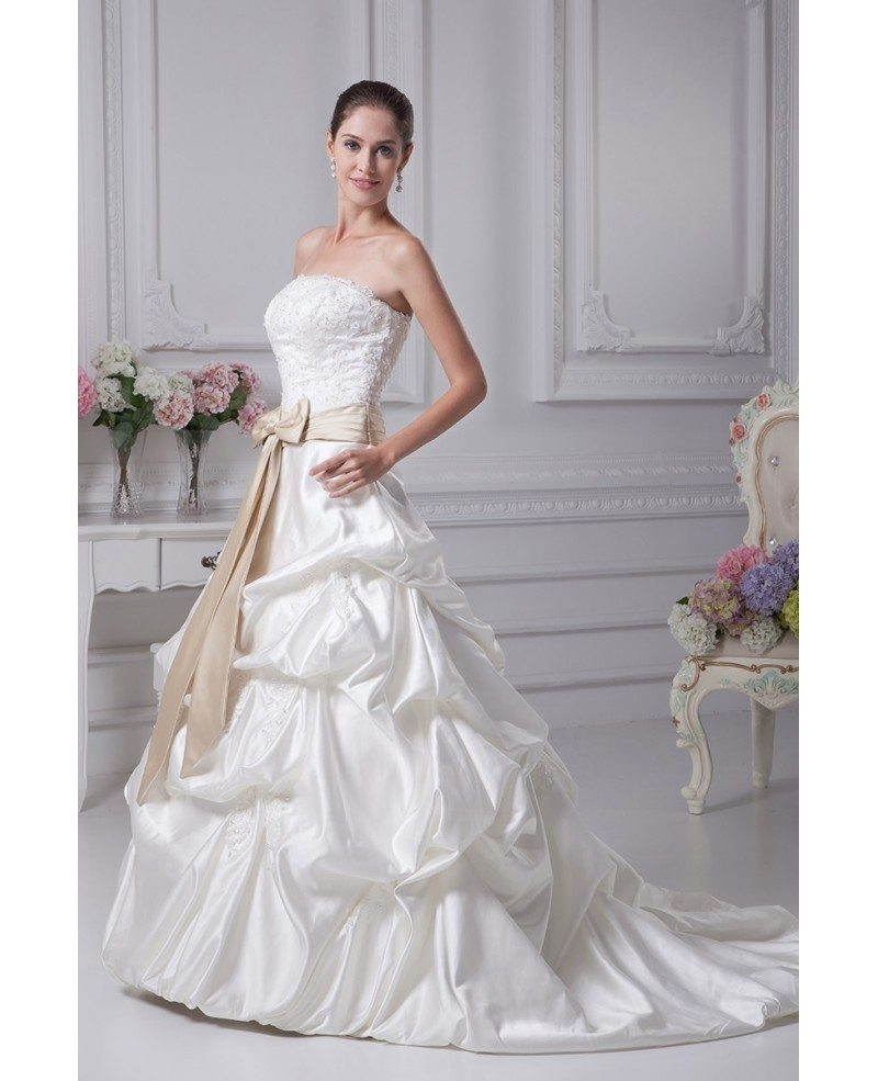 Classic Ivory Wedding Dresses: Classic Beaded Taffeta Strapless White With Champagne Sash