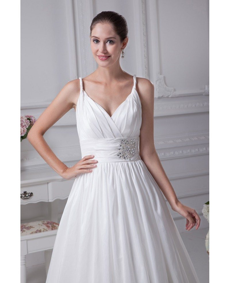 Elegant White Empire Waist Maternity Wedding Dress with Straps ...