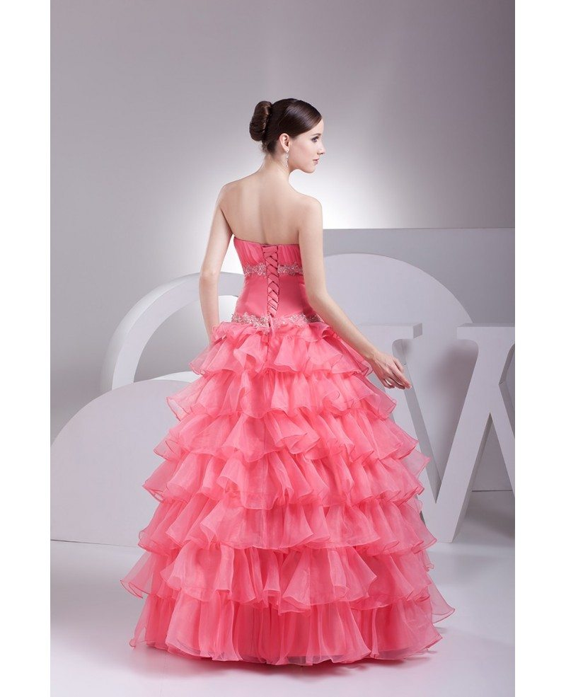 Watermelon colored cascading ruffles wedding dress with for Cascading ruffles wedding dress