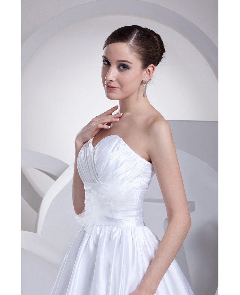 Sweetheart Aline Empire Waist White Satin Wedding Dress with Flower ...