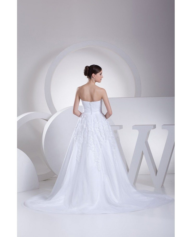 White Lace Organza Train Length Wedding Dress with Bling #OPH1074 ...