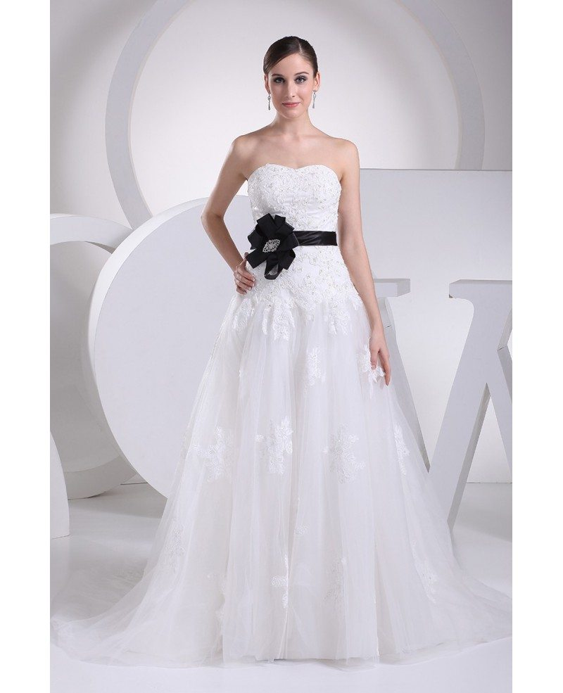 Lace Top Aline Tulle Wedding Dress with Sash #OPH1076 $269 ...