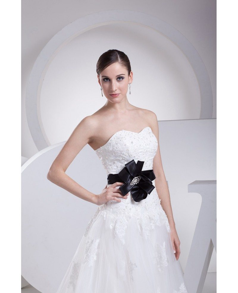 Lace Top Aline Tulle Wedding Dress With Sash #OPH1076 $269