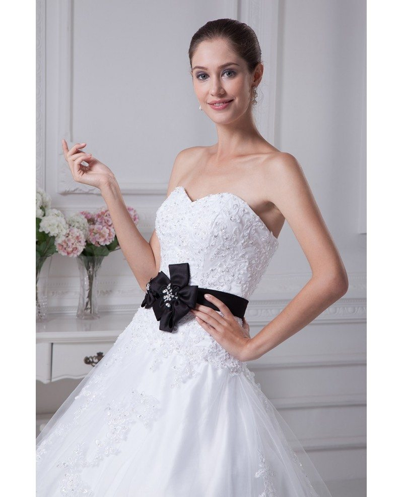 Sequined Lace Tulle Ballgown Wedding Dress with Sash #OPH1077 $329.9 ...