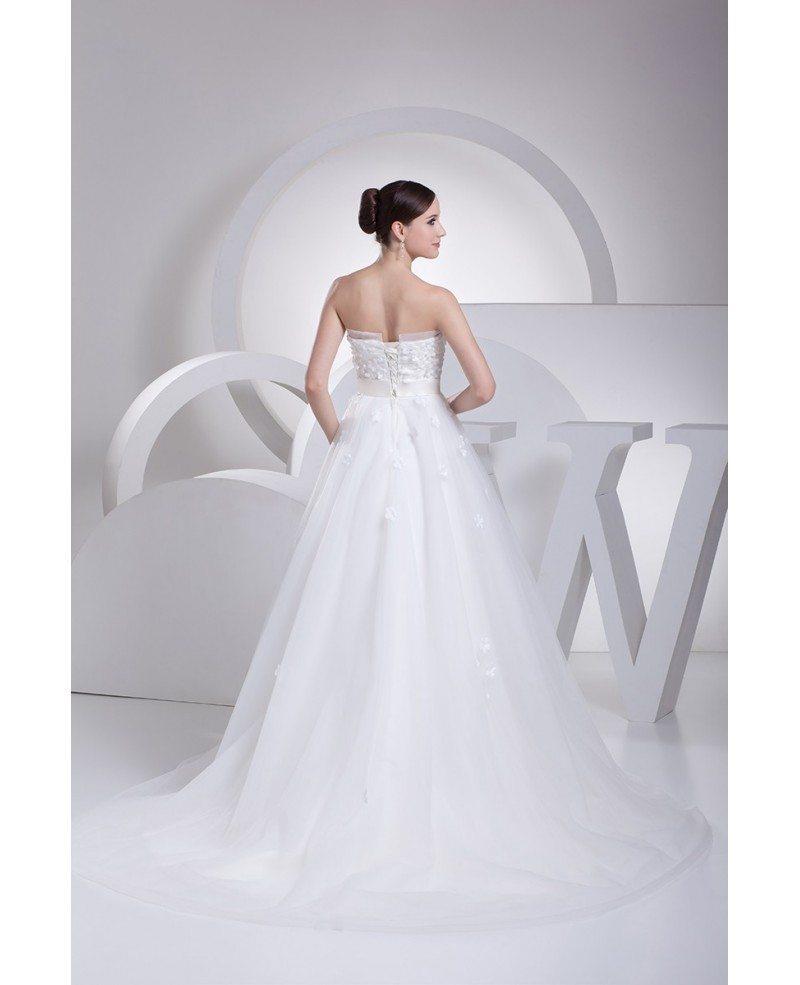 Pretty flowers empire waist long tulle maternity wedding for Empire waist tulle wedding dress