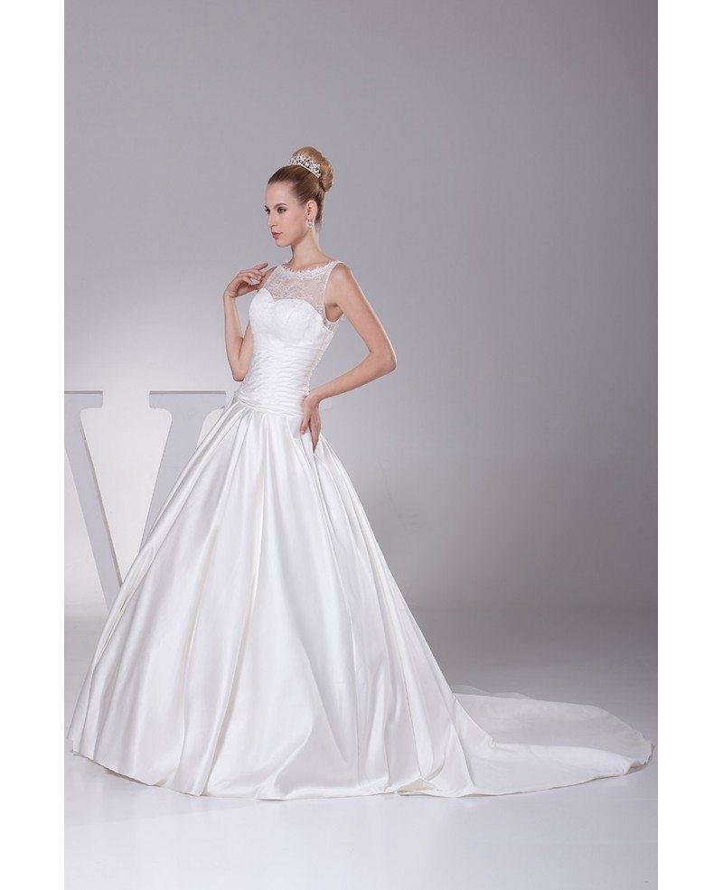 Sleeveless Wedding Dresses: High Neck Sleeveless Ballgown Satin Wedding Dress Custom