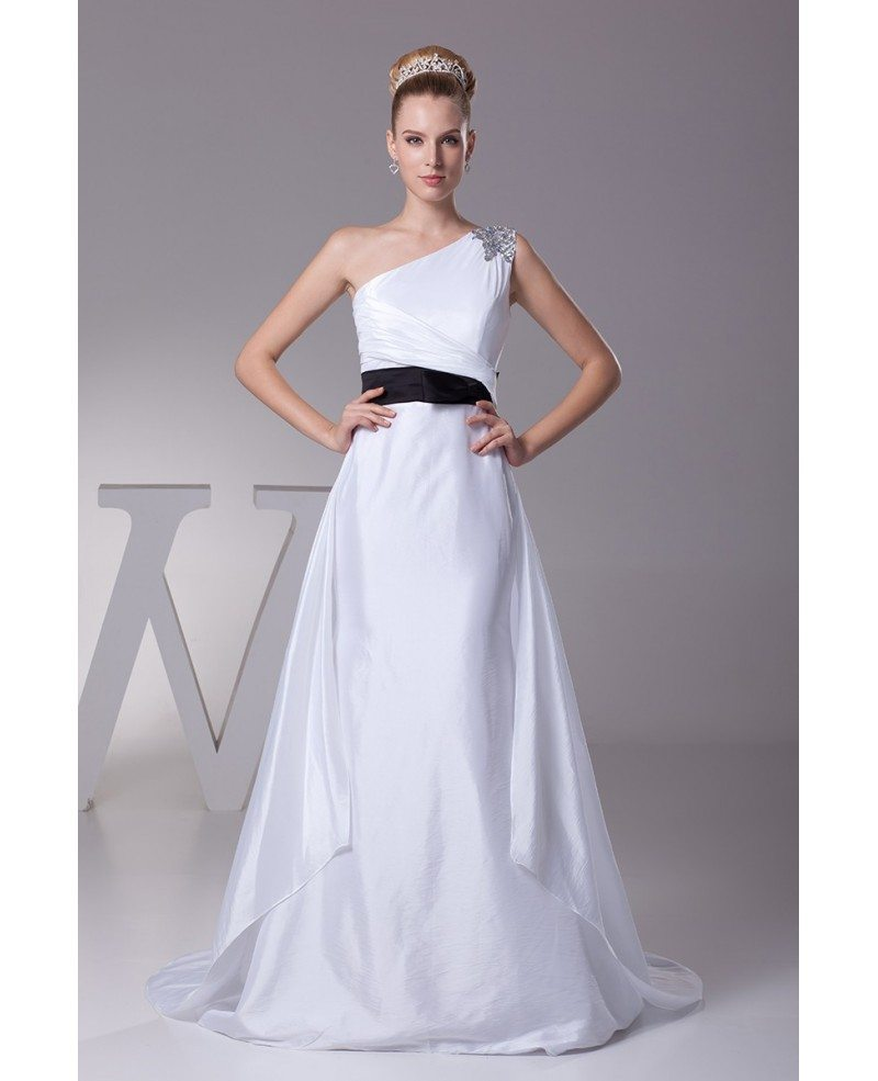 Simple One Shoulder Taffeta White with Blue Sash Wedding Dress ...