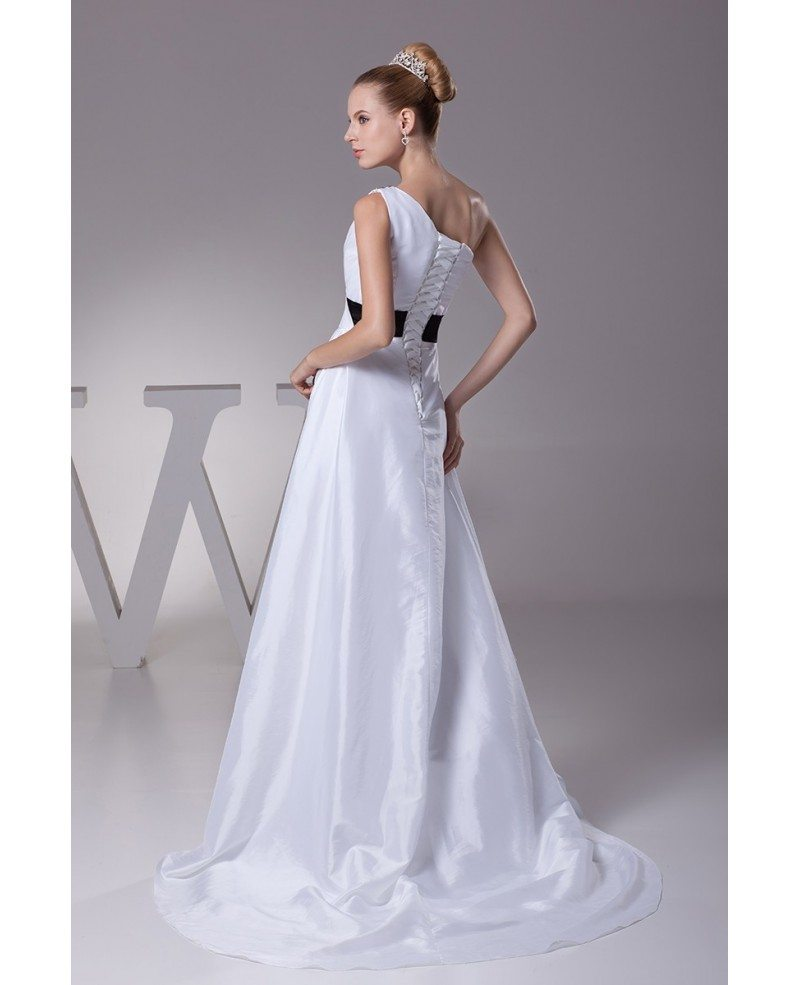 Simple one shoulder taffeta white with blue sash wedding for Blue sash for wedding dress
