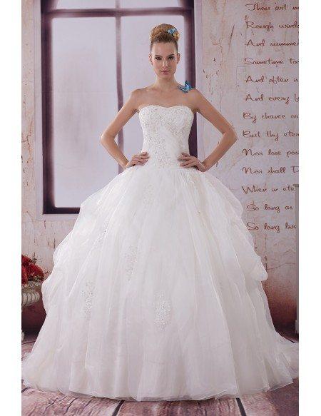 Beautiful big ballgown organza wedding dress sequined lace for Big beautiful wedding dresses