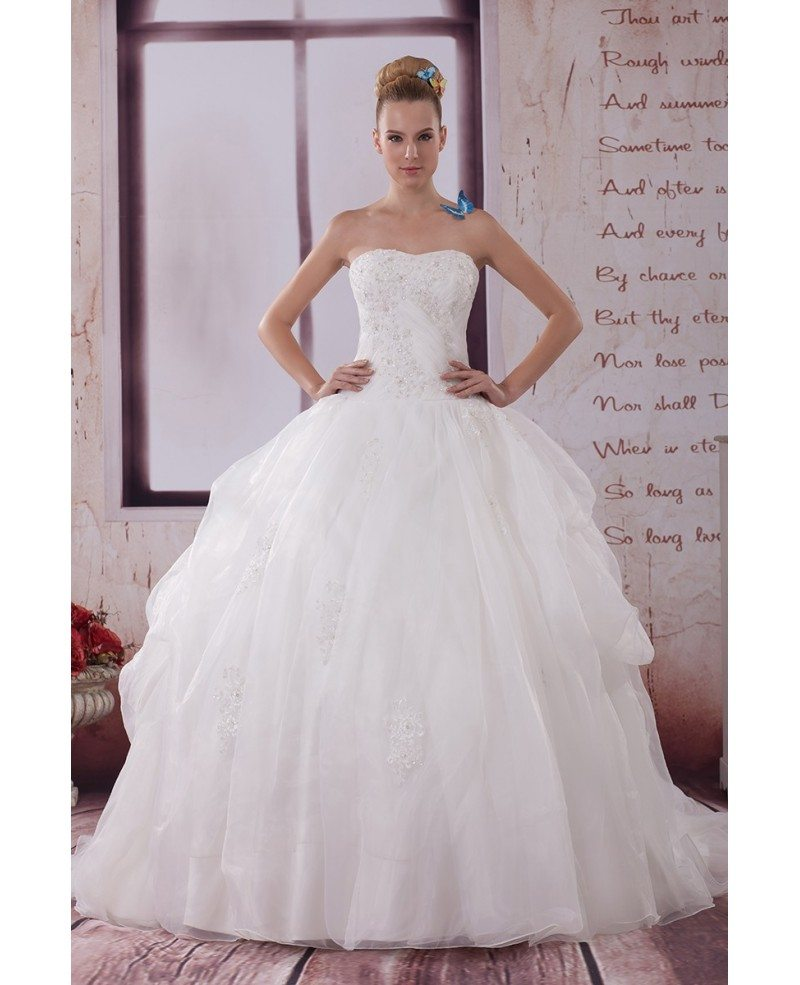 Beautiful Big Ballgown Organza Wedding Dress Sequined Lace #OPH1097 ...
