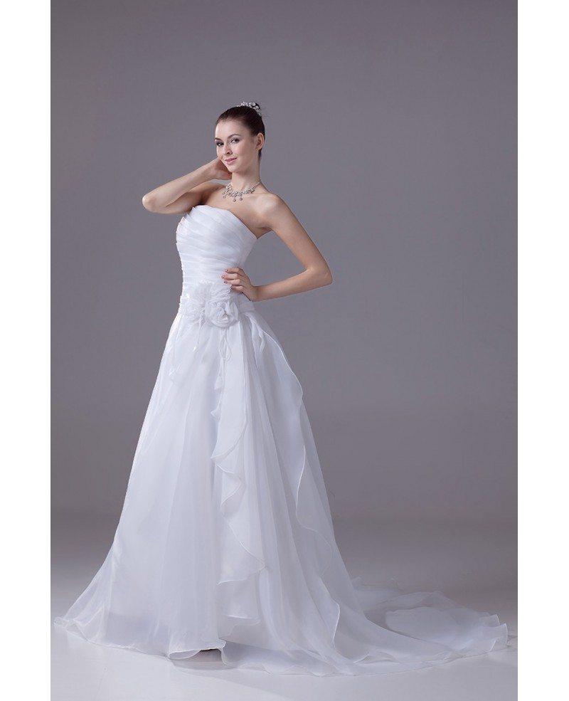 Aline Wedding Gown: Strapless Pleated Organza Aline Wedding Dress With Flower