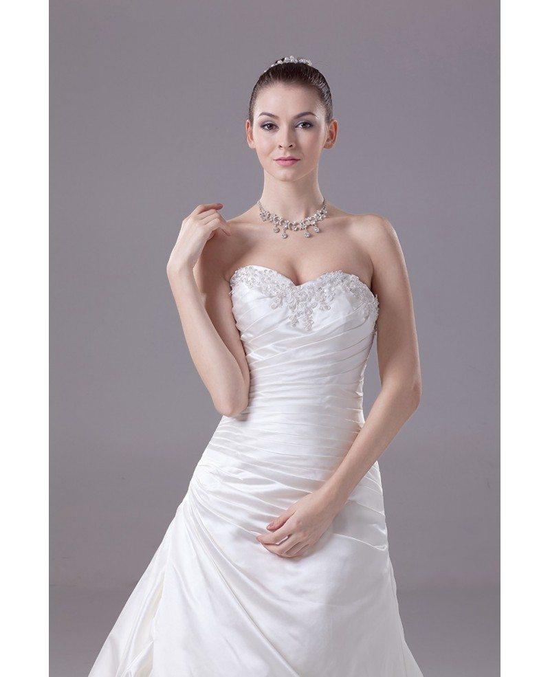 Ivory satin sweetheart long train wedding dress oph1114 for Ivory satin wedding dress