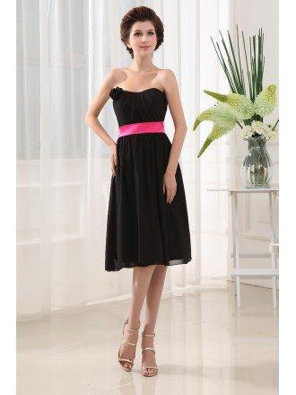 A-line Sweetheart Knee-length Chiffon Bridesmaid Dress