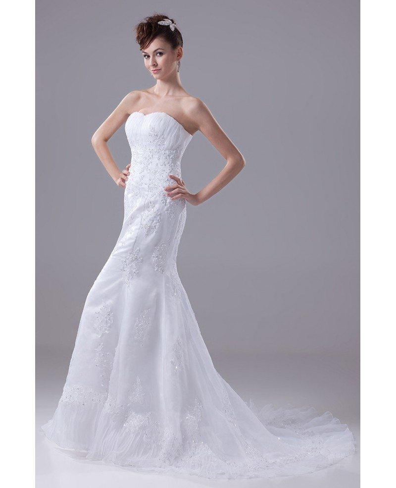 Beaded lace sweetheart fitted mermaid organza wedding for Sweetheart wedding dresses with lace