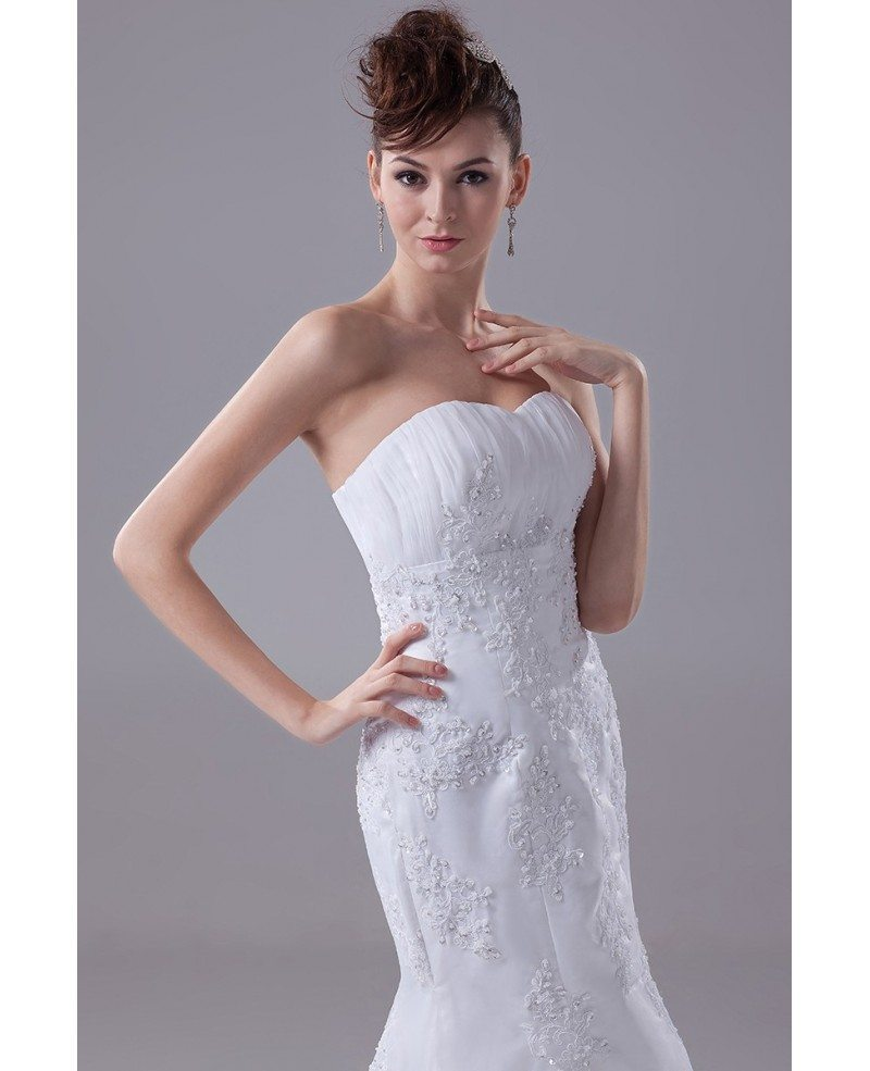 Beaded Lace Sweetheart Fitted Mermaid Organza Wedding Dress OPH1116 2429