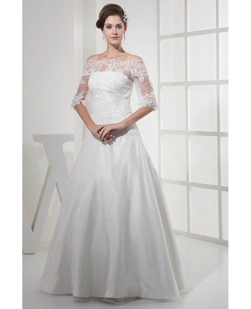 Adding Lace To Wedding Dress: Lace Half Sleeves Long Tulle Wedding Dress #OPH1120 $260.9