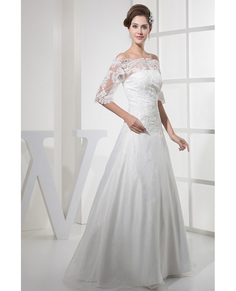 Lace half sleeves long tulle wedding dress oph1120 260 9 for Tulle wedding dress with sleeves