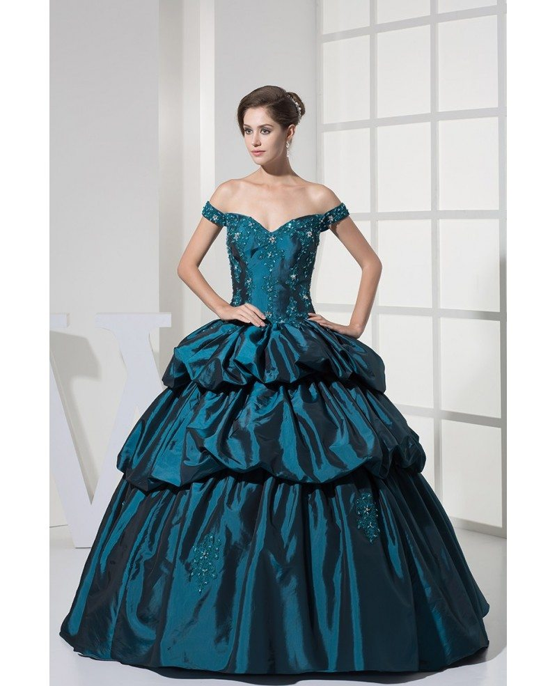 Off The Shoulder Ink Blue Lace Taffeta Ballgown Color