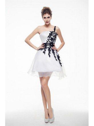 Black Lace and White Organza Mini Short Prom Dress