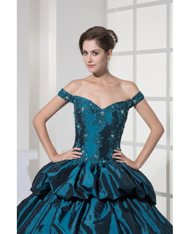 Off the shoulder ink blue lace taffeta ballgown color for Off the shoulder taffeta wedding dress