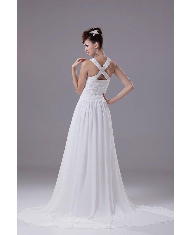 Beaded High Neckline Long Chiffon Beach Wedding Dress With