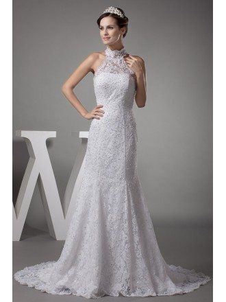 Long Halter Full of Lace Sequined Mermaid Long Wedding Dress