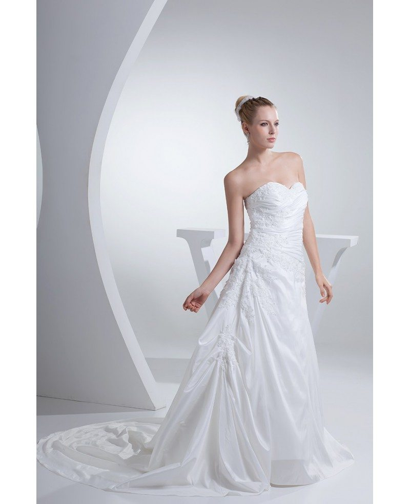 Pure white pleated taffeta lace wedding dress sweetheart for Pure white wedding dress