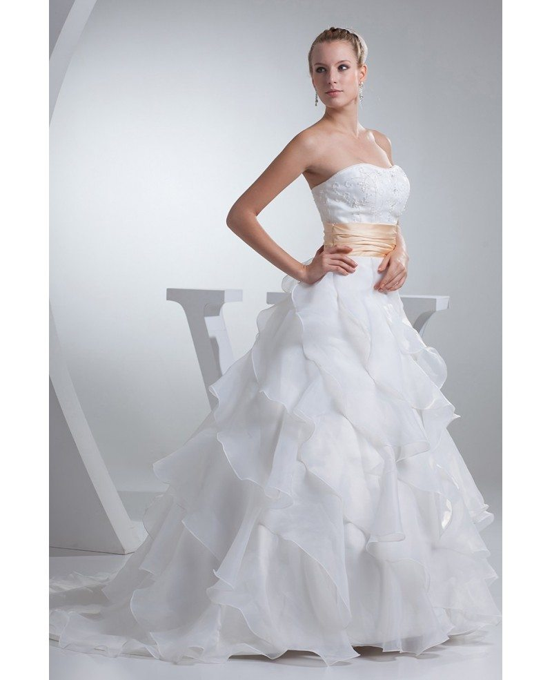 Organza cascading ruffles wedding dress with champagne for Wedding dresses with ruffles