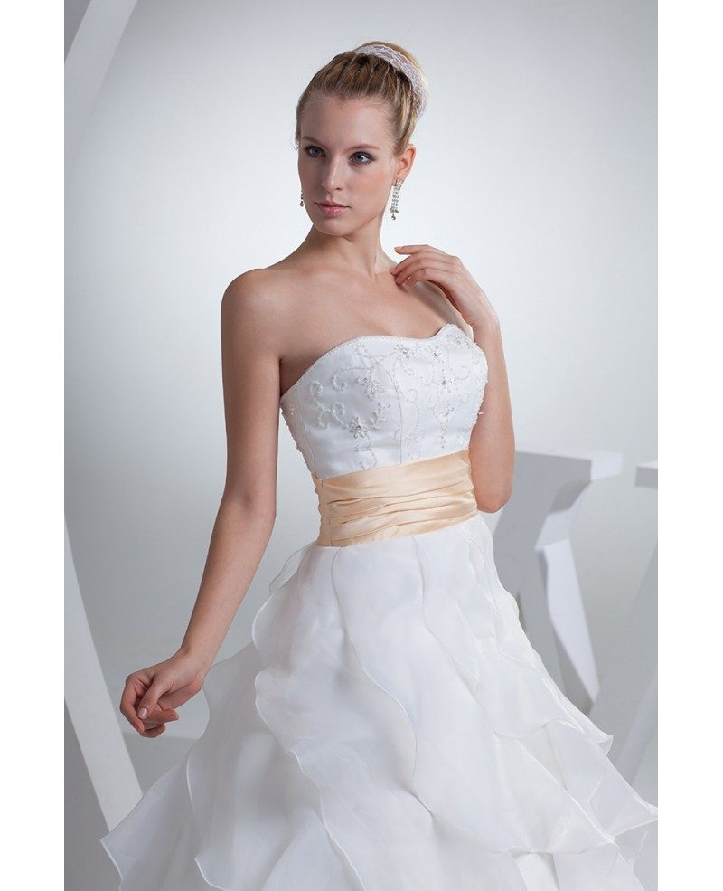 Organza Wedding Gowns: Organza Cascading Ruffles Wedding Dress With Champagne