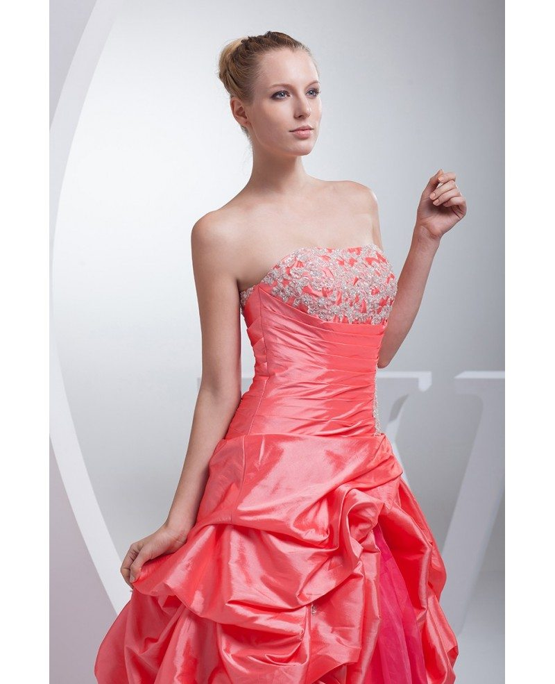Pink Wedding Dresses: Red And Pink Taffeta Strapless Wedding Dress Ballgown