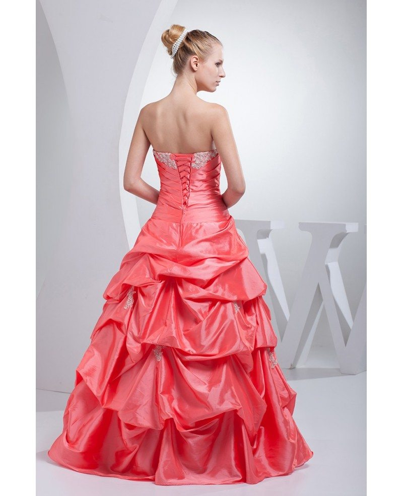 Red and pink taffeta strapless wedding dress ballgown for Strapless taffeta wedding dress